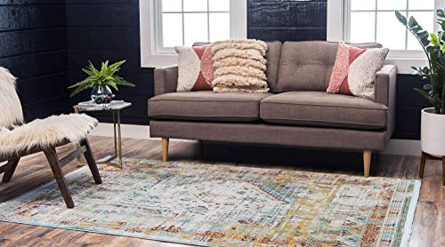 Unique Loom Baracoa Collection Bright Tones Vintage Traditional Light Blue Area Rug 4 3 x 6 0