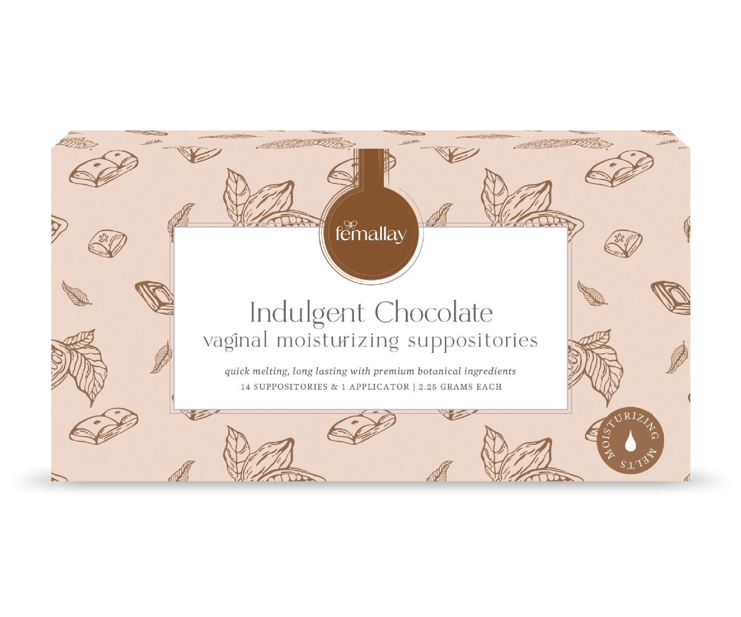 Femallay Organic Indulgent Chocolate Vaginal Moisturizing Suppository Melts – 14 Individually Sealed Suppositories + 1 applicator