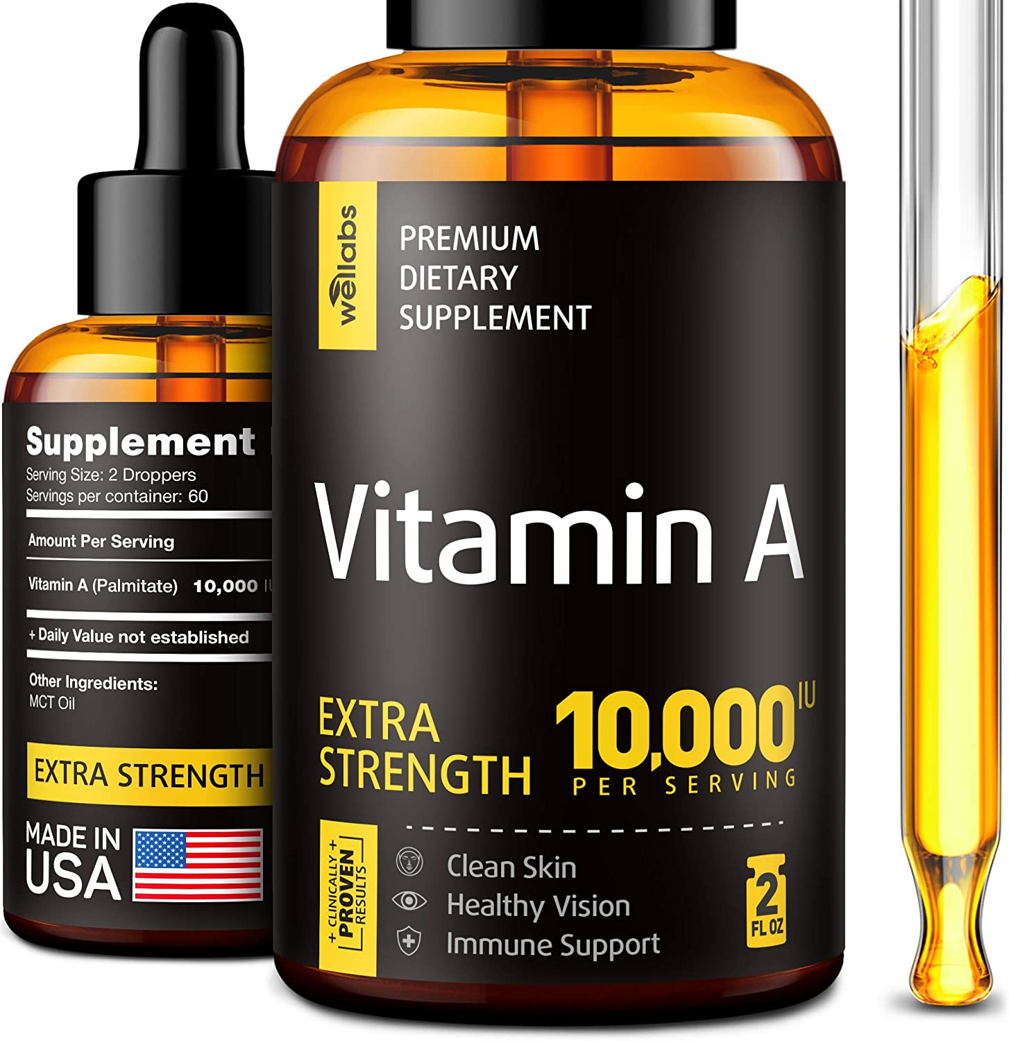 Vitamin A Supplement - Organic Vitamin A Palmitate - Made in The USA - Vitamin A Drops with MCT Oil - Natural Vitamin A 10000 IU for Immunity Support, Clean Skin & Healthy Vision