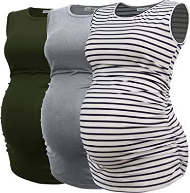 Smallshow Women's Maternity Tank Tops Sleeveless Ruched Pregnancy Clothes 3-Pack