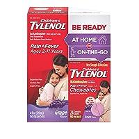 Children's Tylenol Liquid (4 fl. oz) & Chewable (24 ct), Pain Relief, Grape, 2 pc bundle