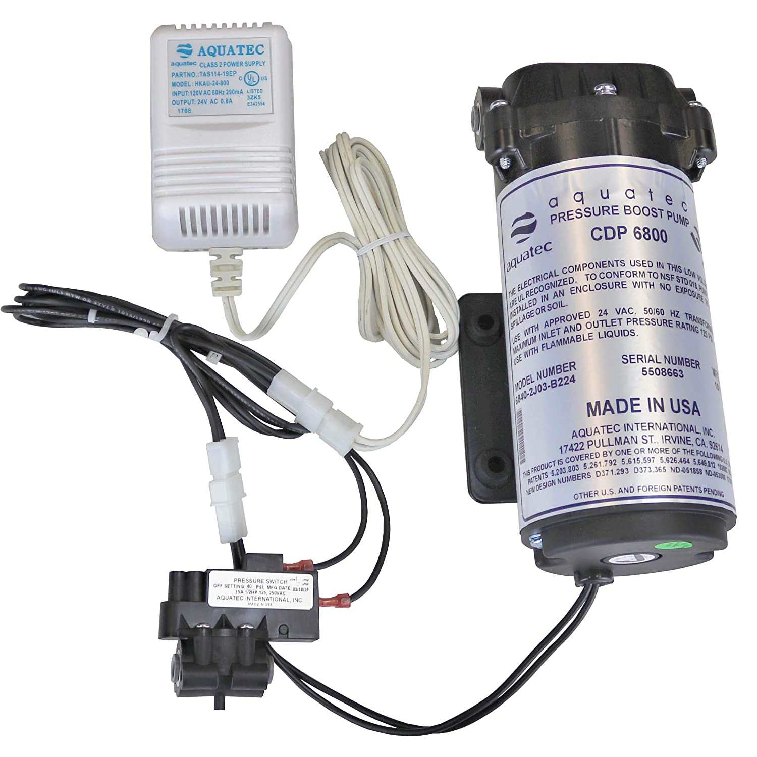 Aquatec 6800 Booster Pump Kit for up to 100 GPD home RO reverse osmosis water filter system Standard or Manifold, includes pump, pressure switch PSW-240, transformer, 6840-2J03-B224 B221 Made In USA