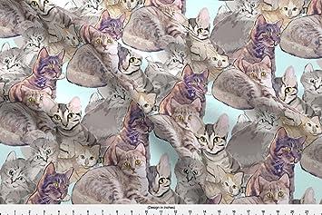 Gatos Tejido gatos y gatitos de tela Mural por dogdaze impreso en por el patio por spoonflower: dogdaze_: Amazon.es: Hogar