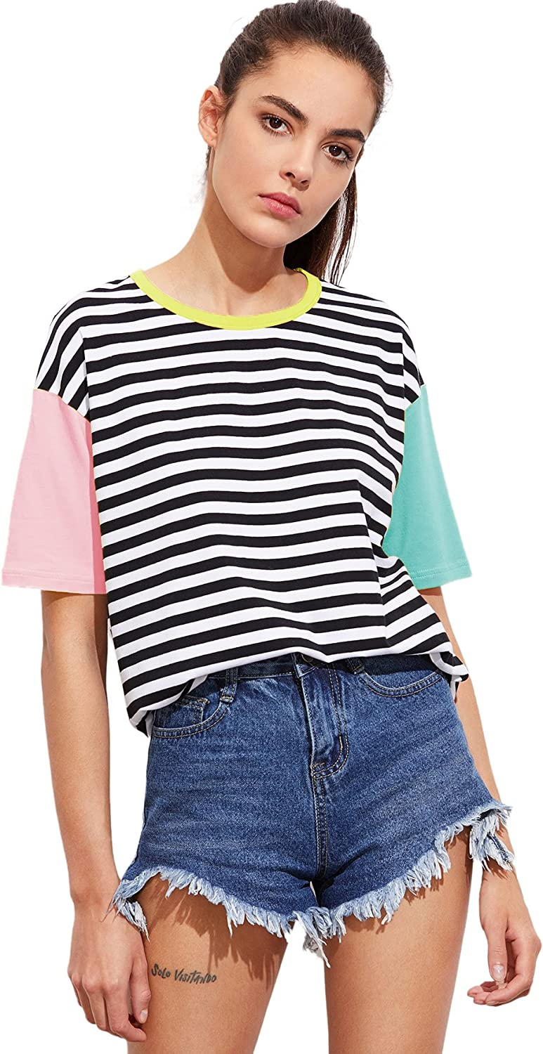 Rrive Womens Casual Print Crew Neck Loose Fit Short Sleeve Crop Top T-Shirt Blouse