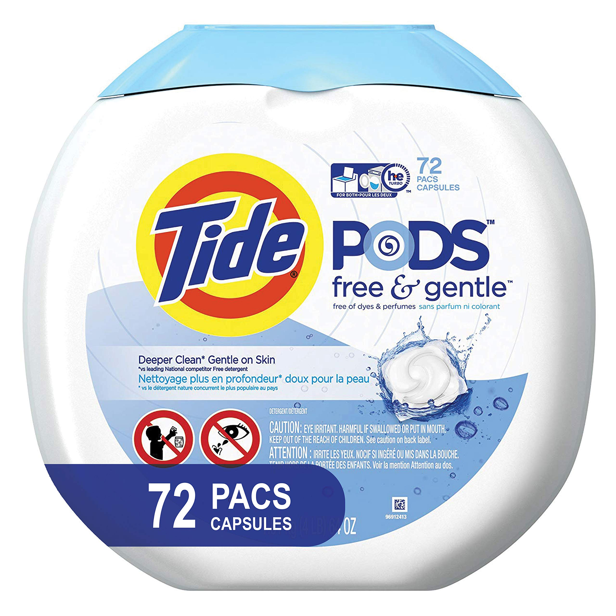 Tide Free and Gentle Laundry Detergent Pods, 72 Count, Unscented and Hypoallergenic for Sensitive Skin by Tide (Image #1)
