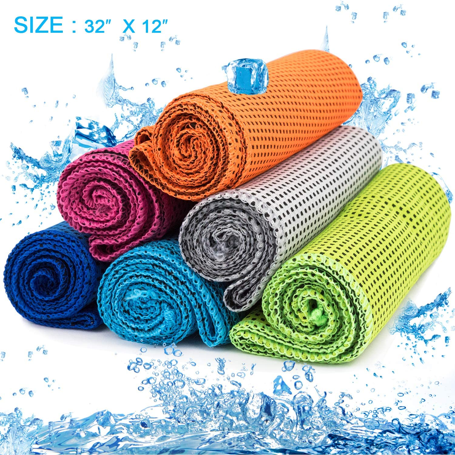 Camping MENOLY 6 Pack Cooling Towel Running Ice Towel Microfiber Towel Soft Breathable Chilly Towel for Sports Gym Workout /& More Activities Yoga Fitness