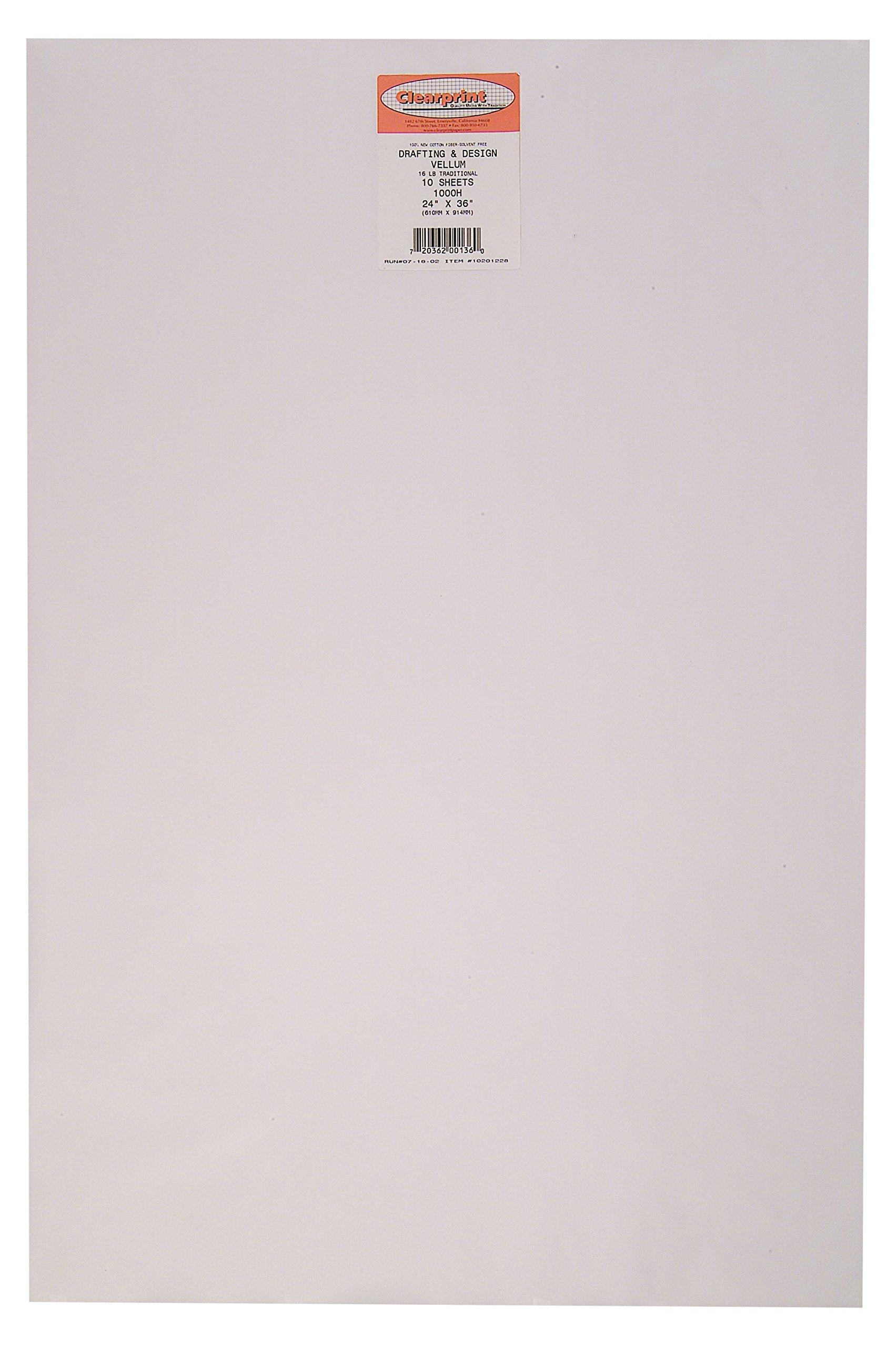 Clearprint 1000H Design Vellum Sheets, 16 lb., 100% Cotton, 24 x 36 Inches, 10 Sheets Per Pack, Translucent White, 1 Each (10201228)
