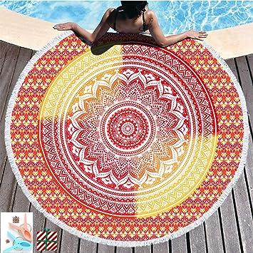 Morbuy Toalla de Playa Redonda La Playa Tapiz de Pared Manta Mandala para Toalla Yoga Acampar