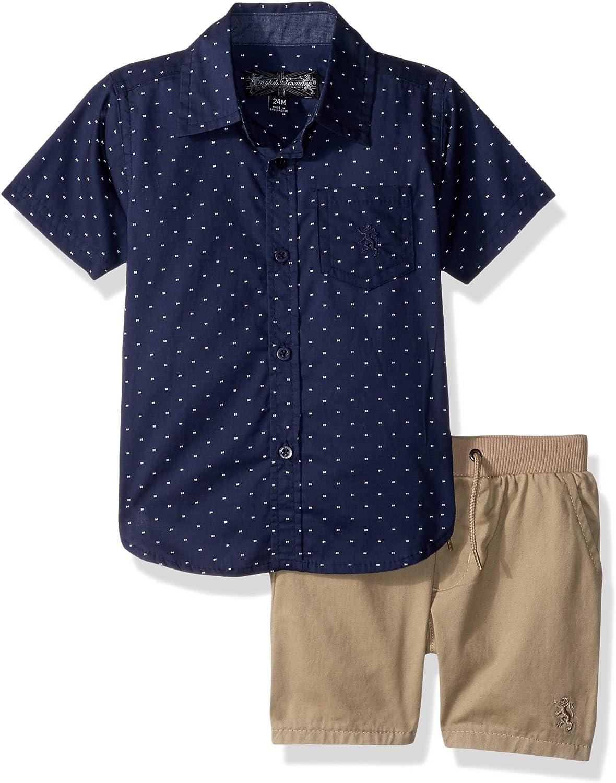 English Laundry Baby Boys Dark Dot Print Chambray Sport Shirt and Twill Pull on Short