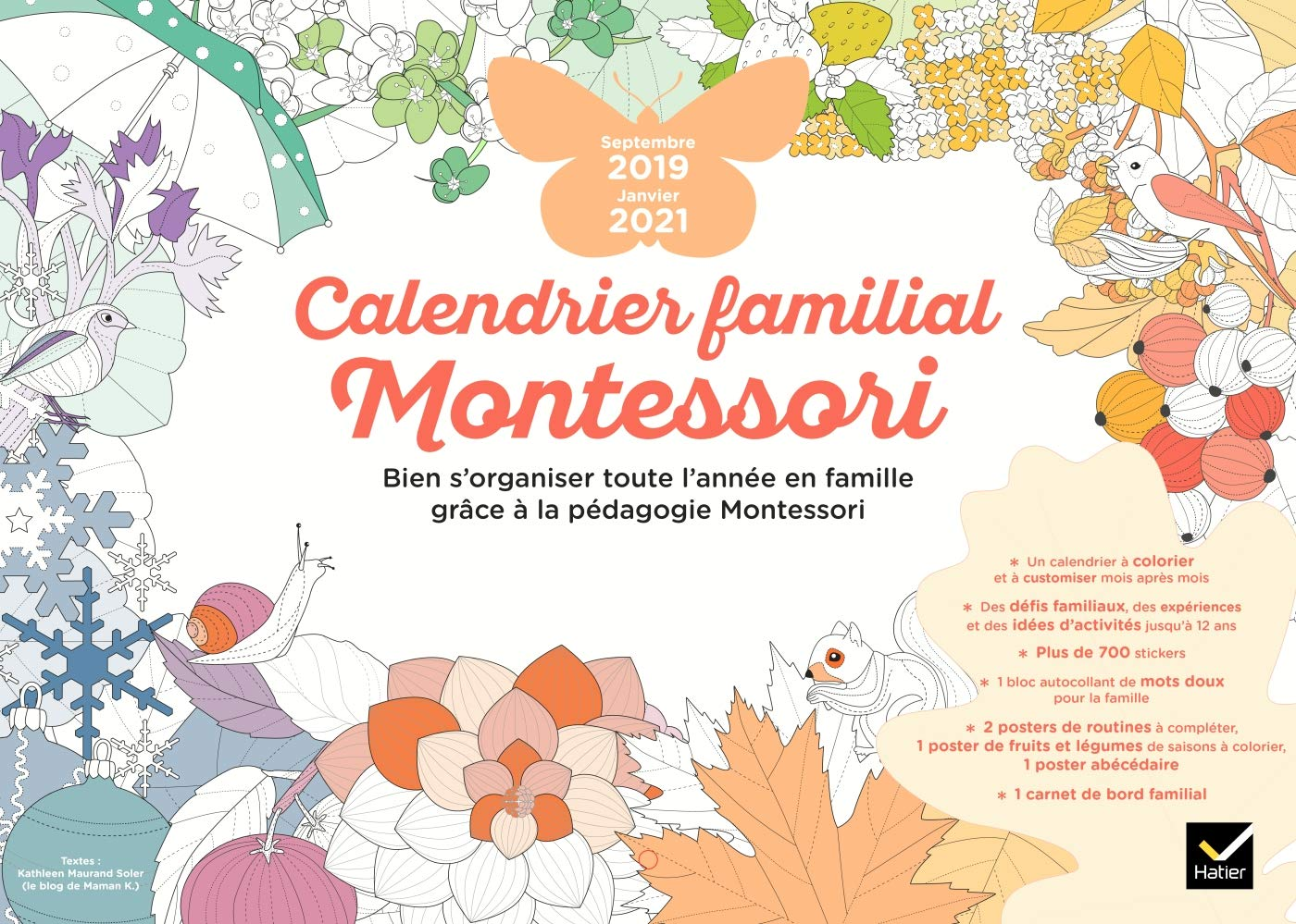 Calendrier Montessori 2021 Calendrier familial Montessori septembre 2019   janvier 2021 (Vie