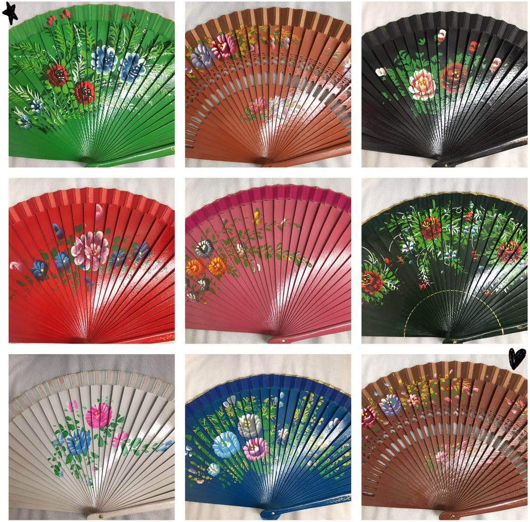 Set of 12 Vintage Dance Wooden Folding Hand Held Fan with Organza Gift Bag Multi-Colors Wedding Party Decor/Spanish Fan/Dancing Fan/Table Setting/Wall Decoration