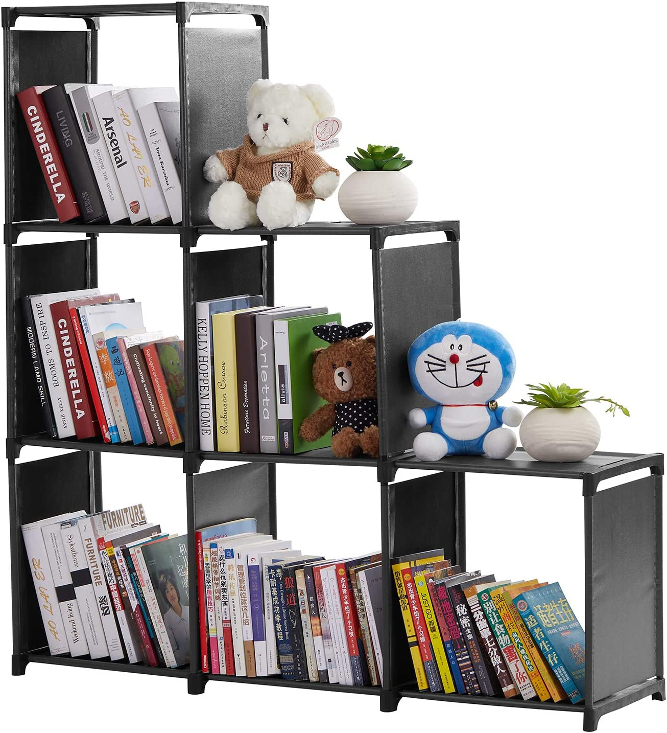Cube Storage 6-Cube Storage Rack Staircase Organizer, DIY Storage Shelf, Bookcase 3-tier Cubes Cabinets for Bedroom Living Room, for Toys and Daily Necessities, Black