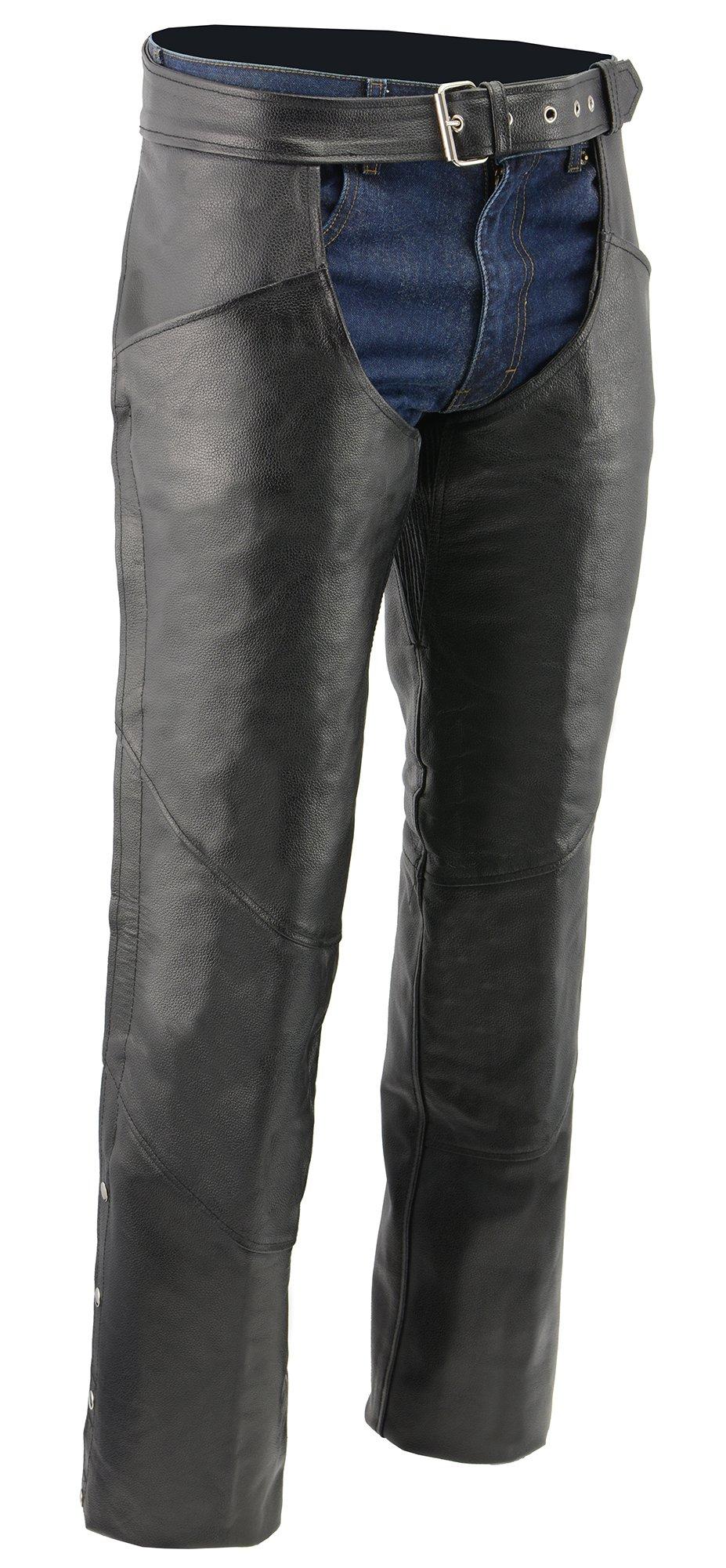M-BOSS MOTORCYCLE APPAREL-BOS15507T-BLACK-Men's tall biker leather chaps.-BLACK-2XL-TALL