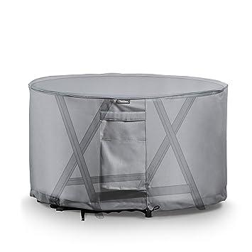 VonHaus — Housse protectrice pour table ronde — Tissu étanche et respirable  — Pour utilisation en intérieur ou en extérieur — Protège du vent, de la ...