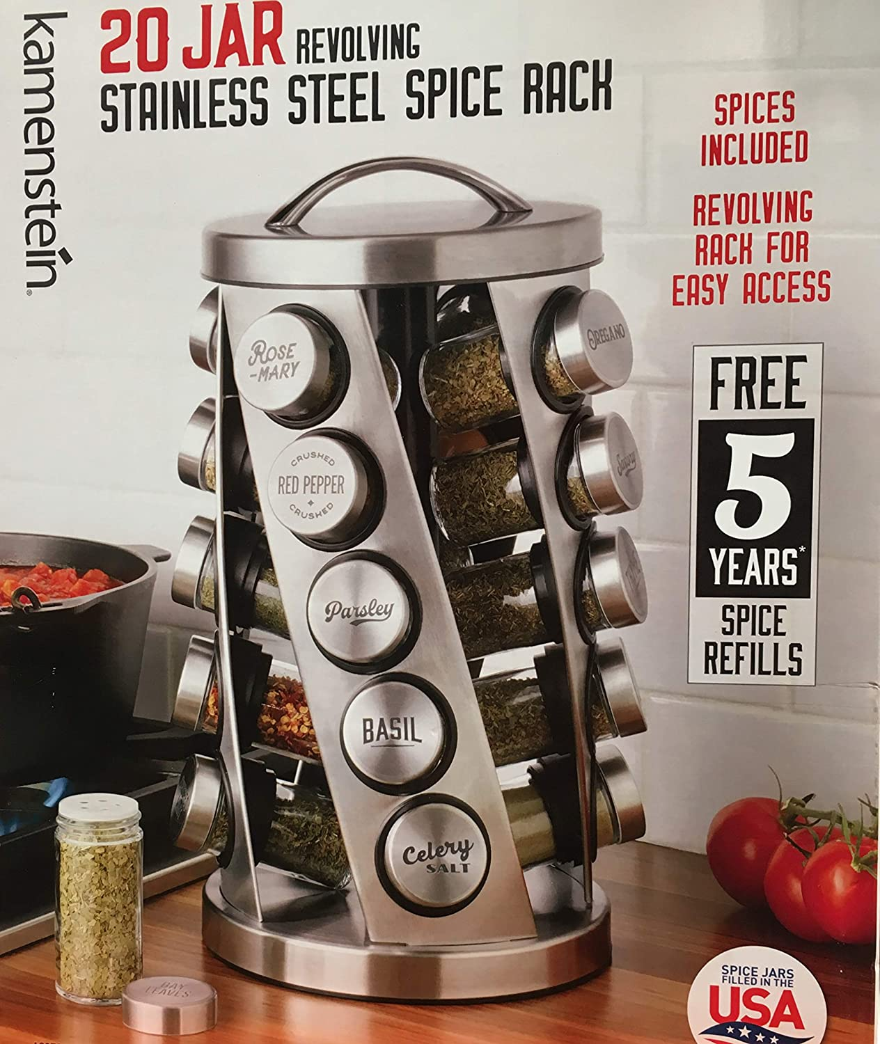 Contemporary Spice Rack Stainless Steel 20 Jars Revolving Rack for Easy Access,Spices Included Plus Free 5 Years of Refills, Filled in USA Kamenstien