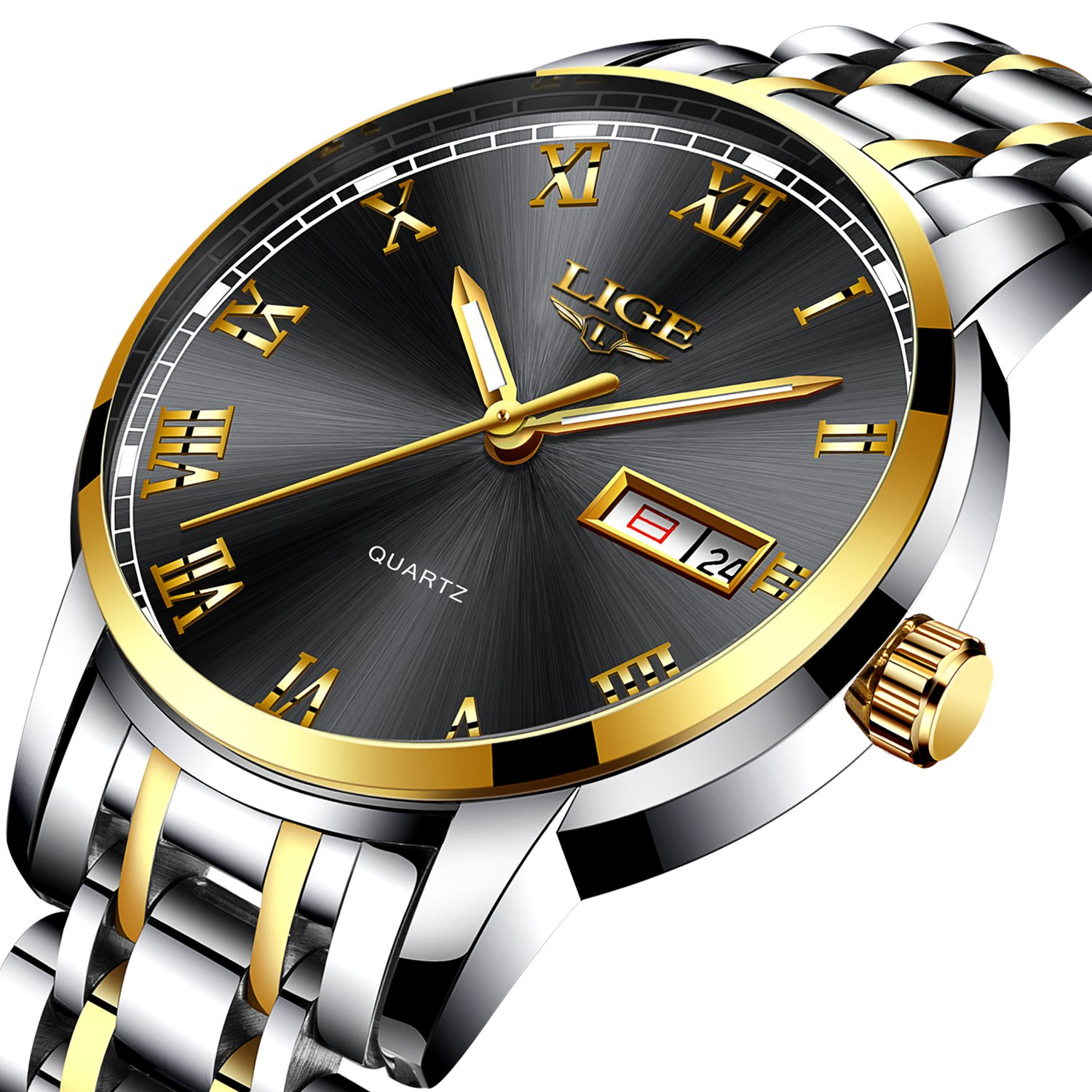Mens Watches Fashion Sports Quartz Watch Stainless Steel Silver with Gold Strap Top Brand Luxury Simple Style Business Watch Waterproof 30M With Black Dial