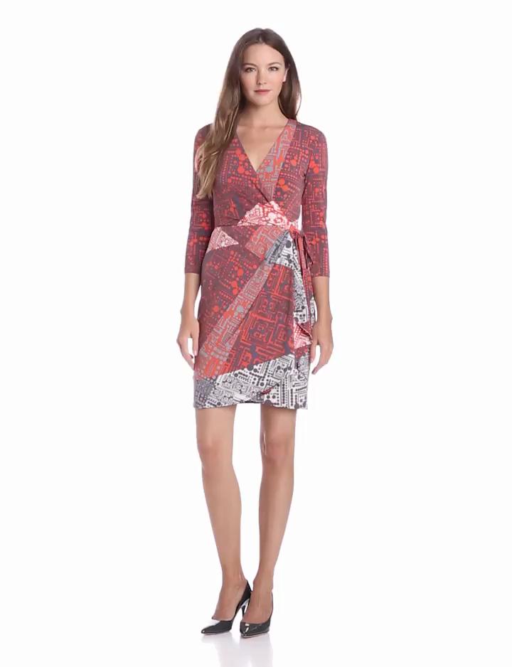 Ivy & Blu Womens Elbow Sleeve Faux Wrap Matte Jersey Dress, Poppy Multi, 10
