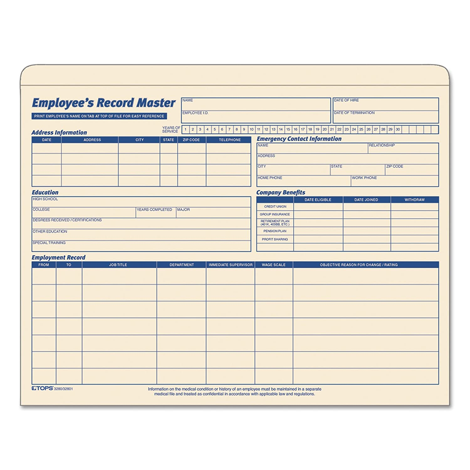 TOPS 3280 TOPS Employee Record Master File Jackets, 9-1/2 x 11-3/4, 10 Pt. Manila, 20/Pk TOP3280