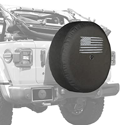 "Boomerang - 33"" Soft JL Tire Cover for Jeep Wrangler JL (with Back-up Camera) - Rubicon (2020-2020) - Distressed American Flag: Automotive"