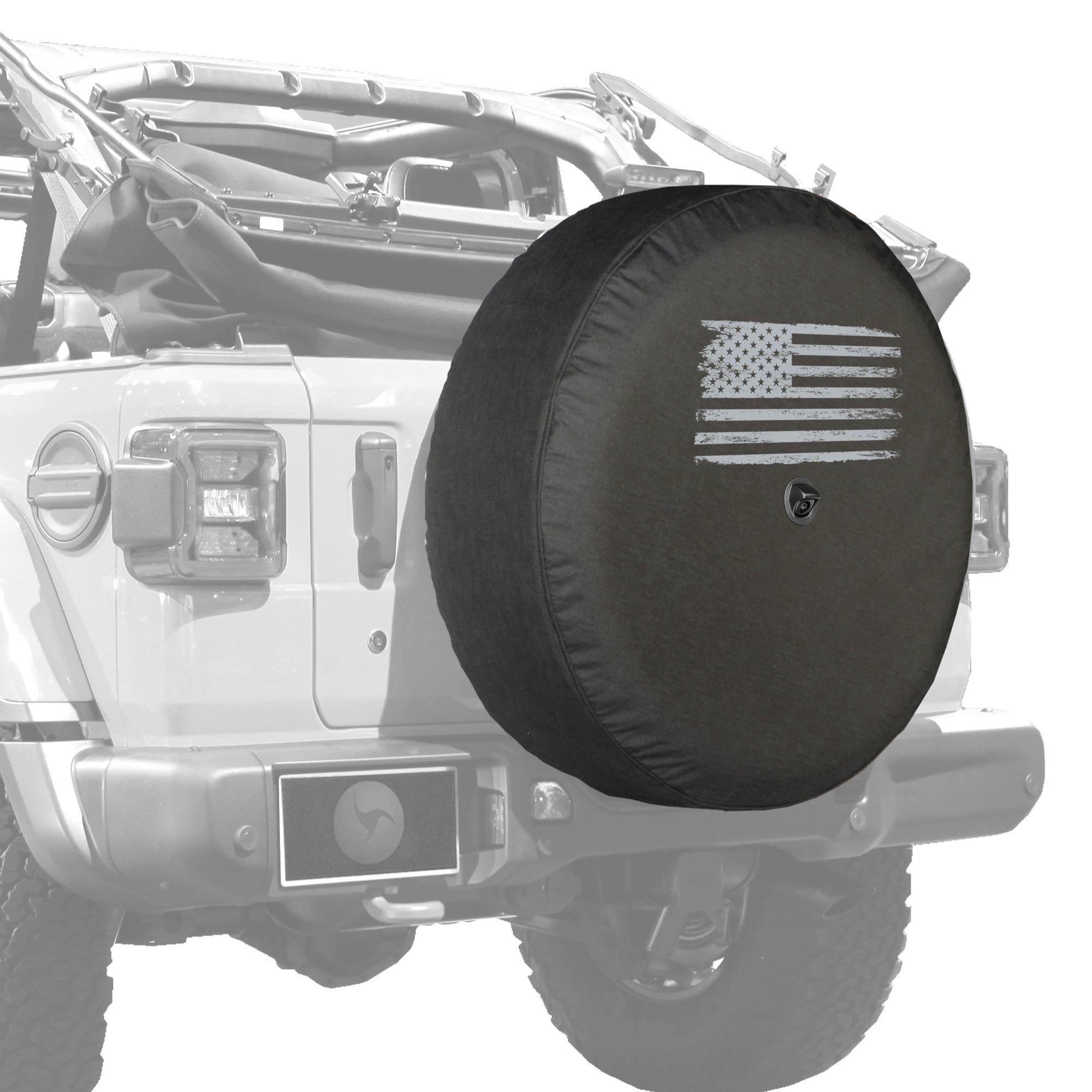 2018 Jeep Wrangler Rubicon JL & JLU - 33'' Soft Tire Cover - Distressed American Flag