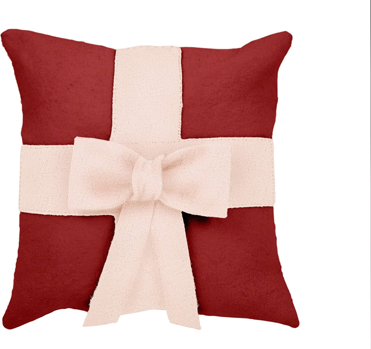 Amazon Com Arcadia Home Cream Bow On Red Christmas Pillow In Hand Felted Wool 20 Decorative Pillow Home Kitchen