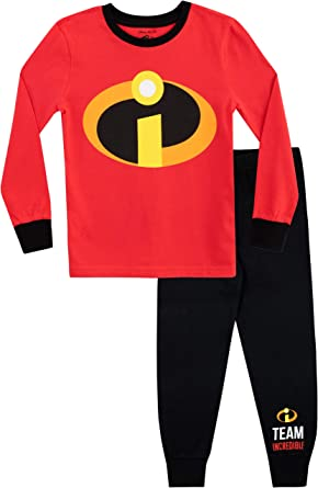 Disney Pijamas de Manga Larga para niños [The Incredibles] Ajuste acurrucado [5-6 Años] [Rojo]