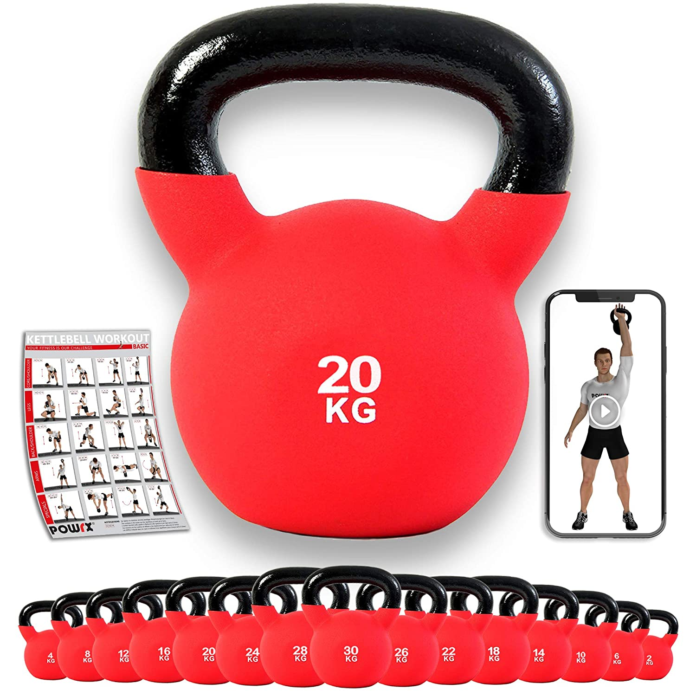 POWRX - Kettlebell Hierro Fundido 4-30 kg - Pesa Rusa con ...