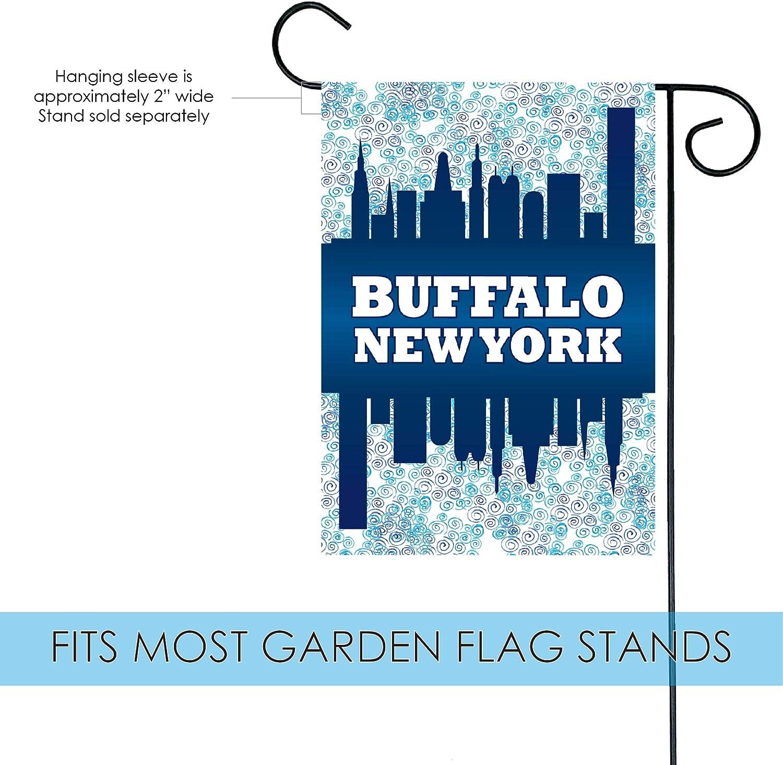 Amazon Com Toland Home Garden Buffalo Skyline 12 5 X 18 Inch Decorative New York Town Regional Garden Flag Garden Outdoor