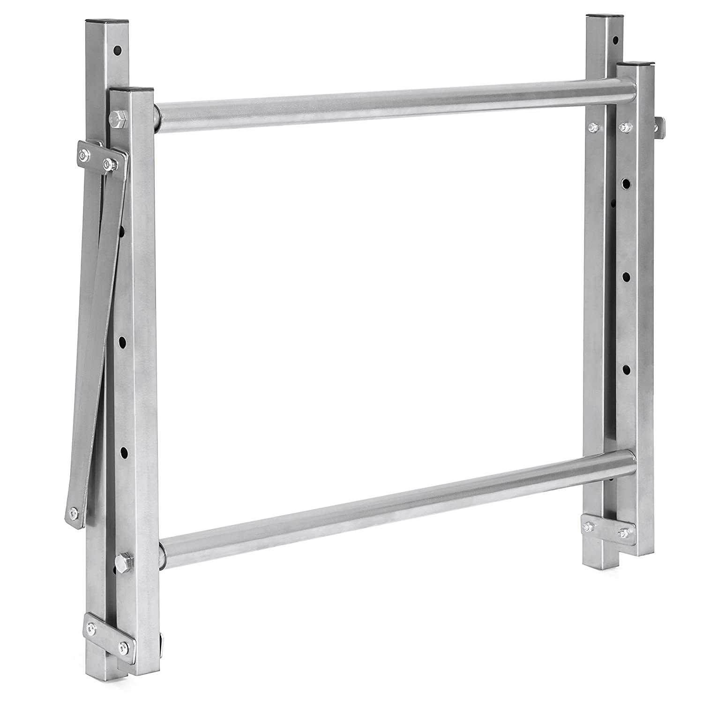 Gray Best Choice Products Heavy Duty Steel Garage Wall Mount Folding Tire Wheel Storage Rack
