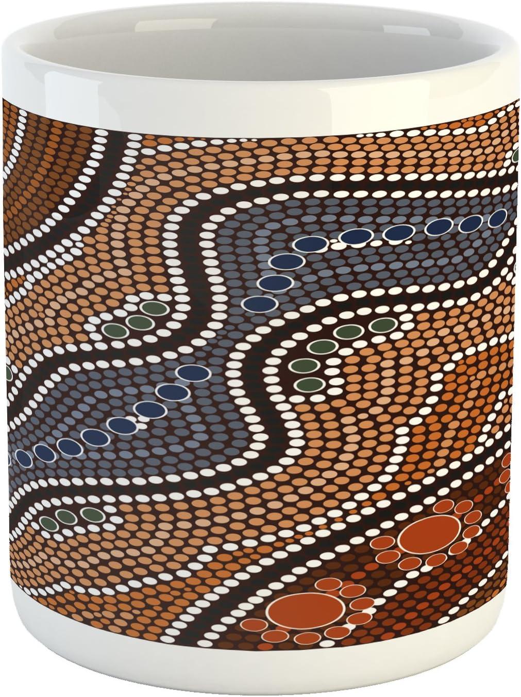 Lunarable Art Mug, Aboriginal Culture Inspired Abstract Nature Scene Native Australian Illustration, Ceramic Coffee Mug Cup for Water Tea Drinks, 11 oz, Orange Brown