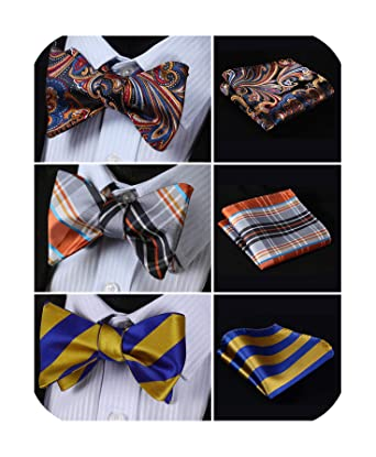 ddb3c3b92743e Amazon.com: HISDERN 3pcs Mixed Design Classic Men's Self-Tie Bow tie & Pocket  Square - Multiple Sets: Clothing
