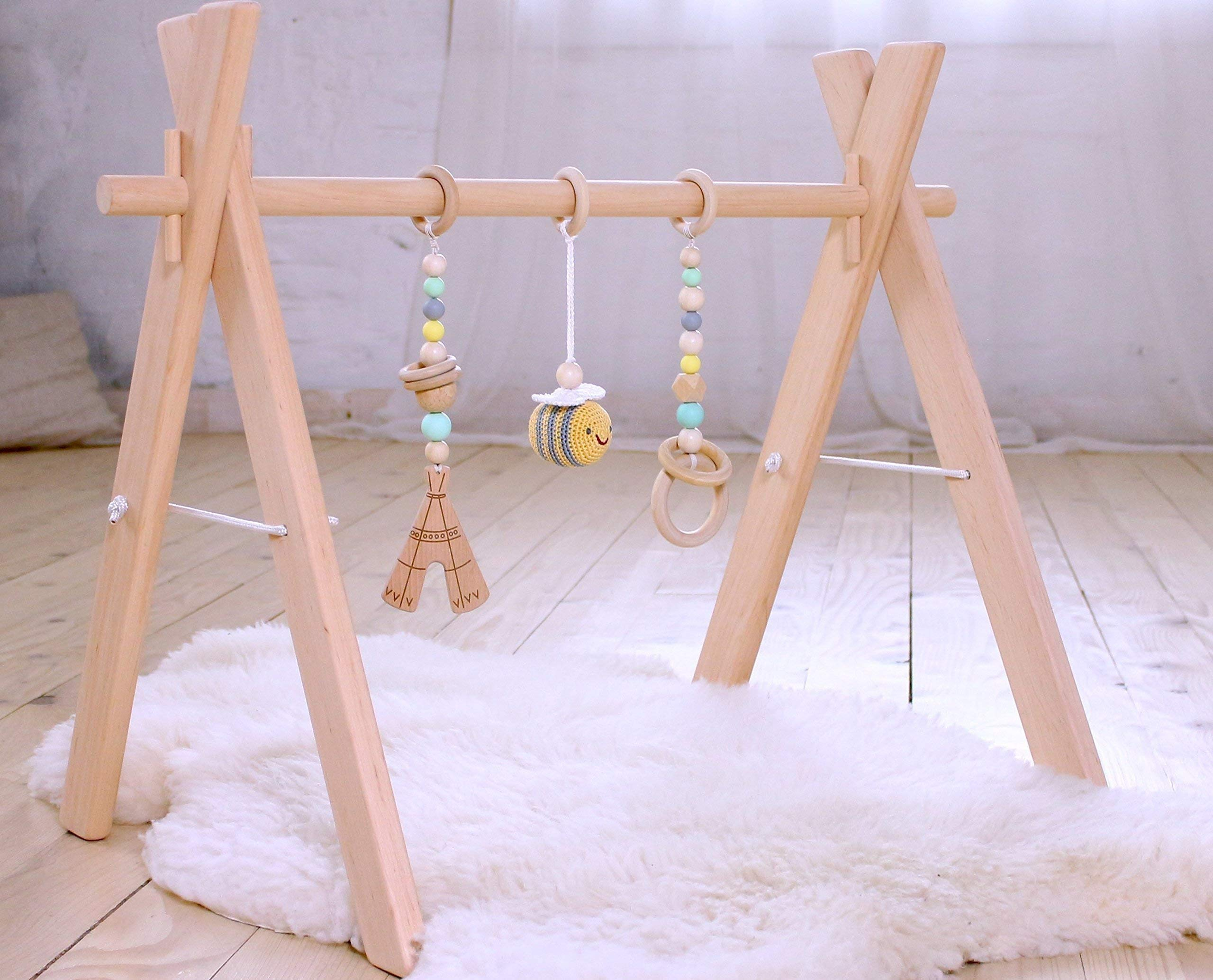 Wooden baby gym with three mobiles: crochet bee, wooden teepee and ring. Mint, Gray & Yellow. Infant play gym wood. Activity center. Baby Shower gift. Gender neutral - Bee baby item