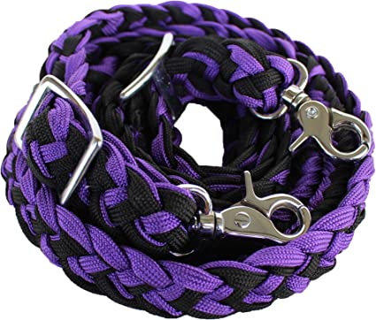 TOUGH-1 PURPLE BRAIDED KNOTTED BARREL RACING ROPING REINS WESTERN 7 FEET