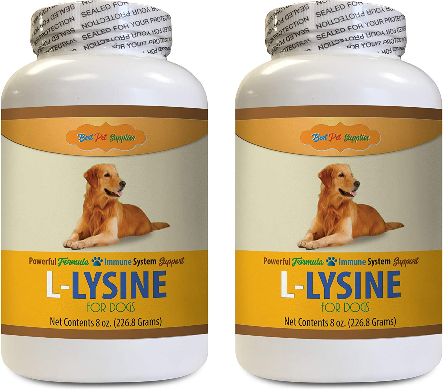 BEST PET SUPPLIES LLC Allergy Immune Bites for Dogs - L LYSINE for Dogs Powder - Powerful Immune System Support - Mix with Food - Skin Eye and Bone Health - l lysine for Dogs - 2 Bottles (16 OZ)
