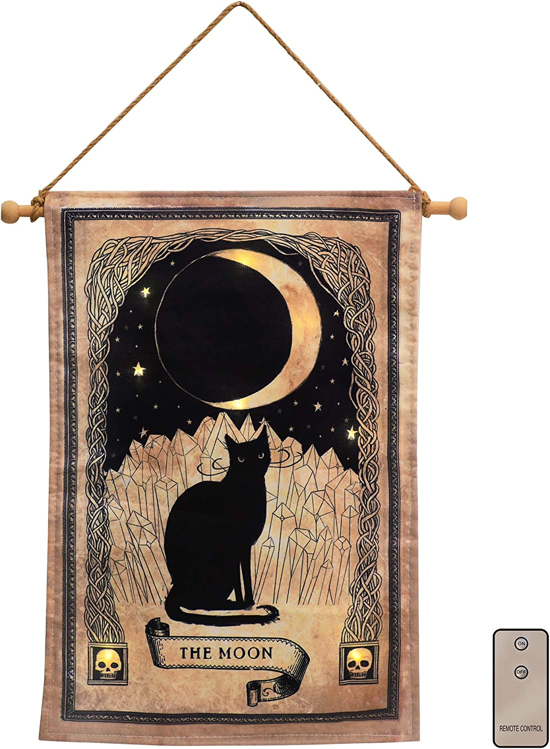 Lumabase 17901 Battery Operated LED Lighted Wall Art-Black Cat and Moon, Multicolor