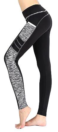 a143d36ce4937 Munvot Leggings de Sport Femme Collants Maigre Running Fitness Pantalon  Sport avec Poche Noir Blanc