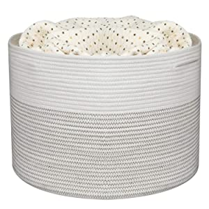 "UBBCARE Cotton Rope Storage Basket Woven Large Throw Blanket Basket Baby Laundry Basket Foldable Toys Storage Baskets Nursery Hamper 17"" x 15"""