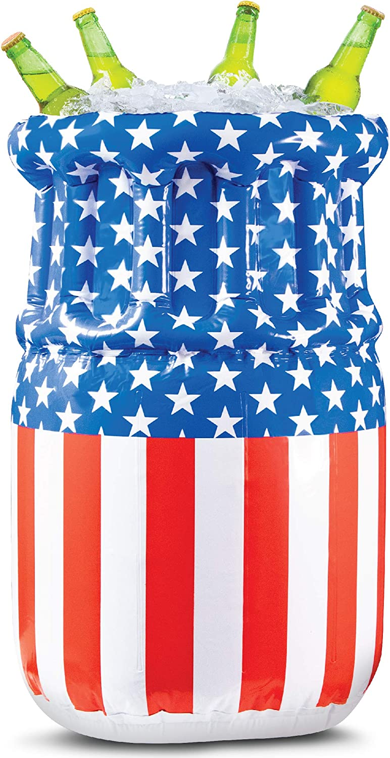 Wembley Stars & Stripes American Flag Inflatable Cooler Chest for Food and Drinks, Perfect for Summer Pool Parties, Backyard Barbecues, Fourth of July Beverages, and More