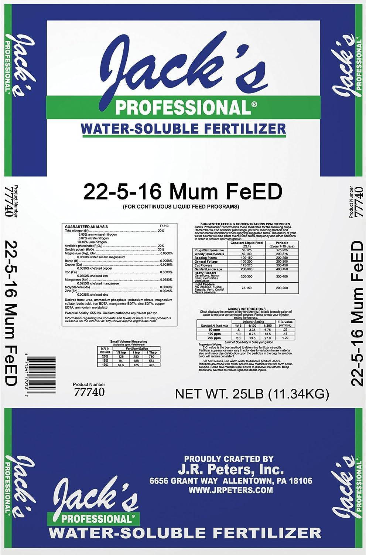 Jacks Prof 77740 Mum Feed Plus Magnesium 22-5-16 Fertilizer, 25-Pound