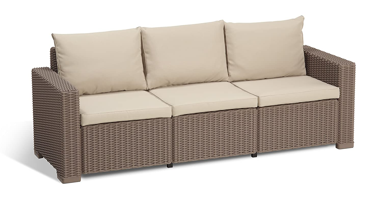 Keter California 3-Seater Seating Patio Sofa with Cushions in a Resin  Plastic Wicker Pattern, Cappuccino/Sand