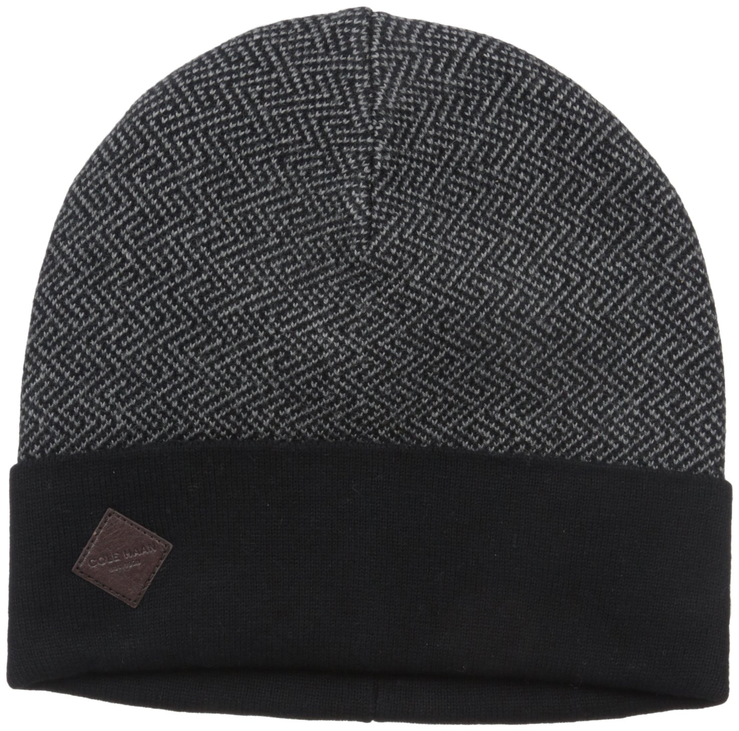 Cole Haan Men's Fine Gauge Pattern Jacquard Knit Cuff Hat, Black/Heather Grey, One Size