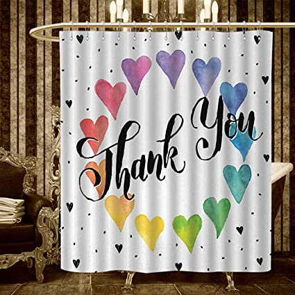 Homecoco Romantic Shower Curtains 3D Digital Printing Thank You Note With Rainbow Like Colored Round Made