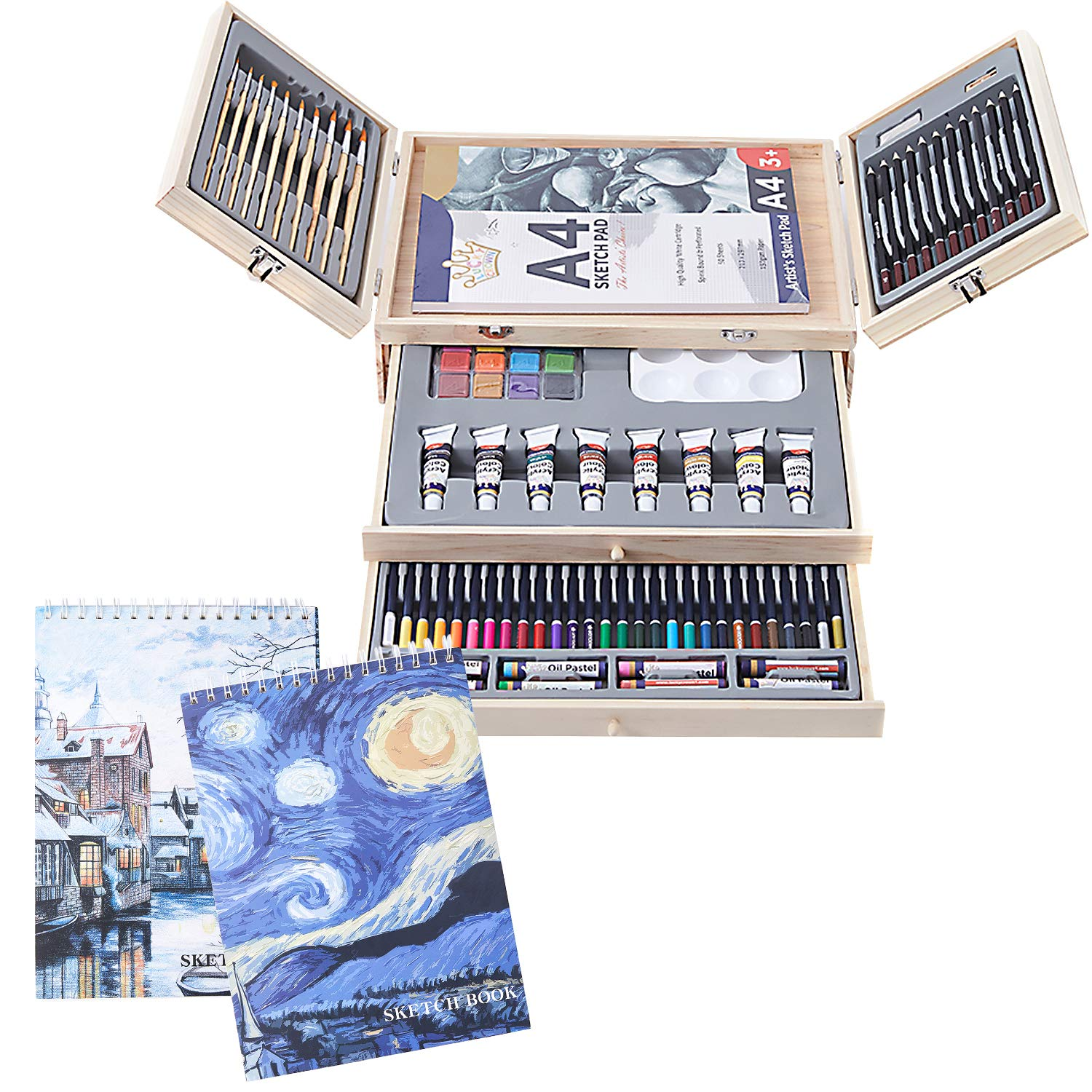 Professional Art Set 85 Piece Deluxe Art Set in Portable Wooden Case-Painting & Drawing Set Professional Art Kit with 3 x 50 Page Drawing Pad for Kids, Teens and Adults/Gift