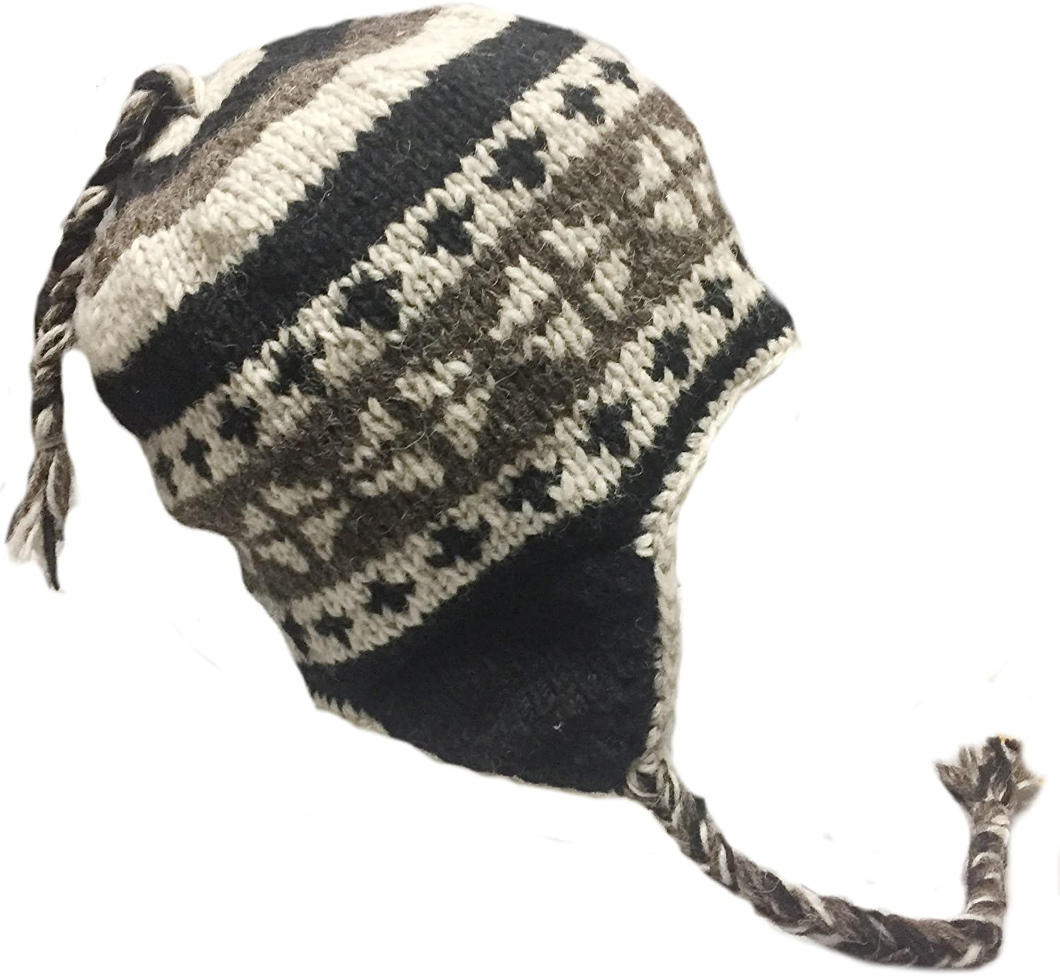Amazon.com   Nepal Hand Knit Sherpa Hat with Ear Flaps 866ad7e9a962