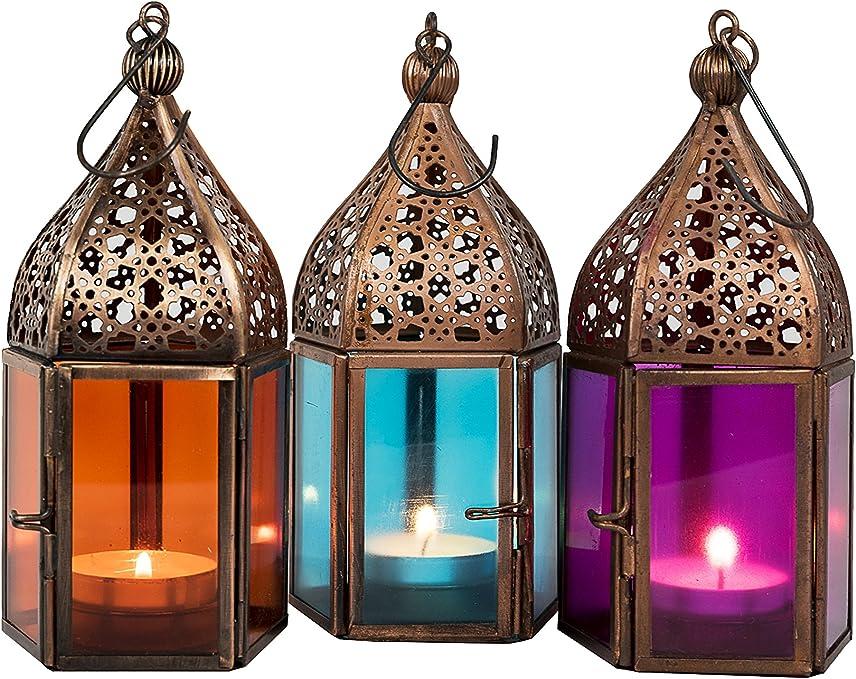 Lanternes pour bougie Photophore marocain pour l/'ext/érieur au jardin ou l/'int/érieur sur la table Lot de 3 Petite Lanterne marocaine d/écorative Meena 16cm d/écoration de maison orientale