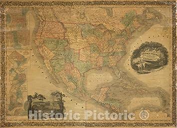 Amazon.com: Historic Map - Wall Map, United States, Mexico ...