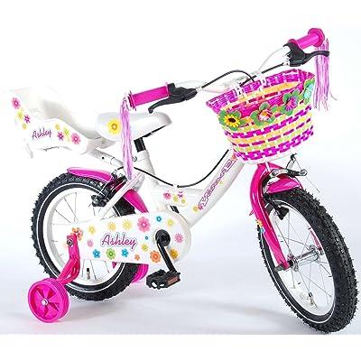 b434d3798af2f9 Vélo Enfant Fille Ashley 14 Pouces Frein Avant et Arrière sur le Guidon  Roues de Stabilisation