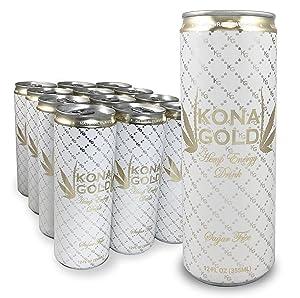 Kona Gold Sugar Free Hemp Energy Drink 12.0 Fluid Ounces, Zero Sugar, Organic Hemp, 12 Pack