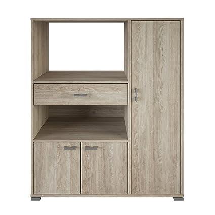 Mueble auxiliar para microondas con varios departamentos color roble ...