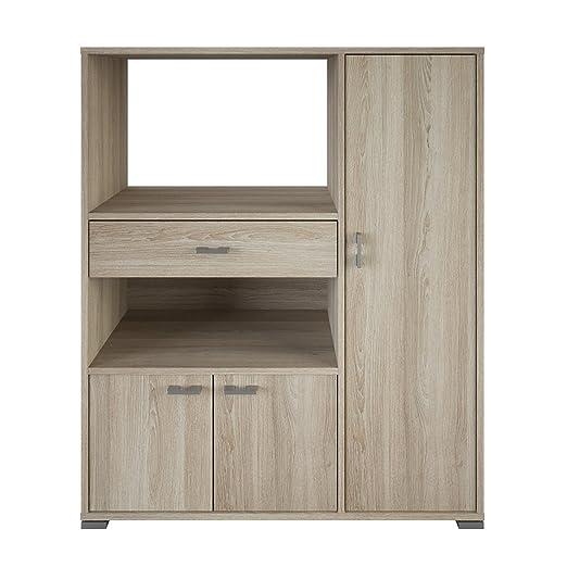 Mueble auxiliar para microondas con varios departamentos color roble shannon 90x107x39 cm para cocina
